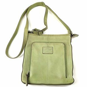 Fossil Green Leather Cross-body Messenger Bag Purs